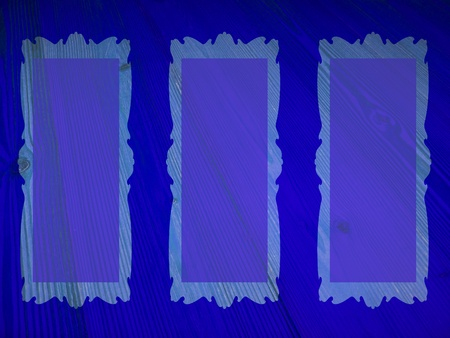 Brilliant misterious dark blue background with empty transparent frames on wood photo