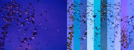 Dark blue deep oceanic water backgrounds with banners of drops in different light blues photo