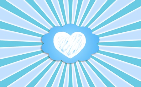 simetry: Love dream metaphor with a heart in a dream cloud comic balloon in blue sky with rays