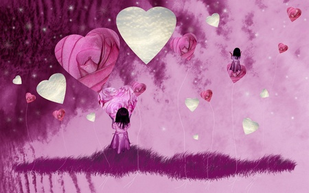Fantasy, fantasies, child, flying, balloons, flowers, roses, imagination, dreams, purple
