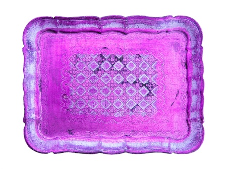 magentas: Intense metallized pink purple colored antique wood tray Stock Photo