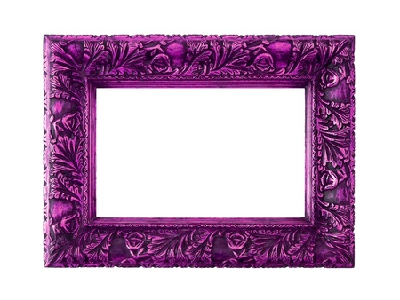 picture framing: Pink purple rectangular carved wood frame isolated on white