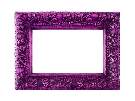 Rose pourpre cadre rectangulaire en bois sculpté isolé sur blanc Banque d'images - 12126836