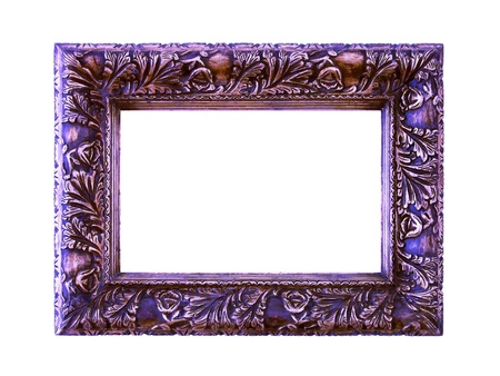 wood molding: Silver and purple elegant frame isolated on white Stock Photo