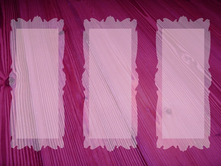 marquees: Purple elegant old wood background with three translucent empty frames for pics Stock Photo