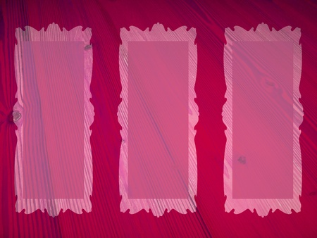 marquees: Pink and dark redish magenta background with three rectangular transparent empty frames