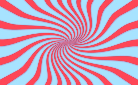 rotations: Psychedelic simple abstract background with red twirl on blue background