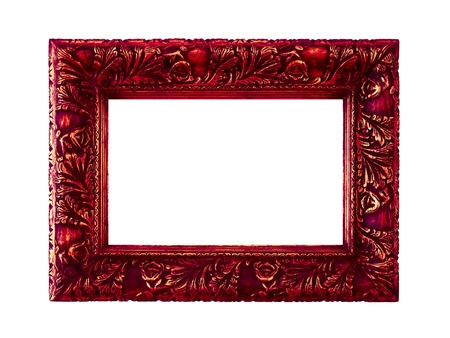 Dark red vintage frame isolated on white photo