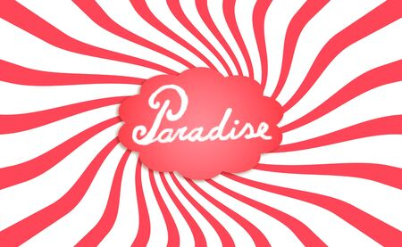 spiralized: Paradise dream cloud with twirl of rays funny background in red isolated on white