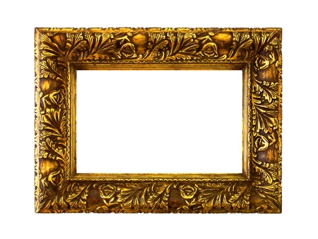Old elegant gold carved wood marquee isolate don white background photo