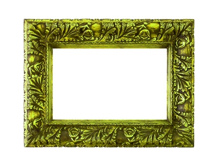 marquees: Green elegant molding frame of wood on white background