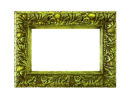 wood molding: Green elegant molding frame of wood on white background