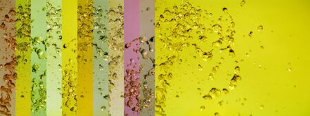 Unique background in yellow waters with drops and colored banners background Stock Photo - 12126713