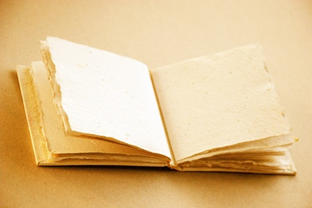 Recycled paper blank book opened to write in sepia photo