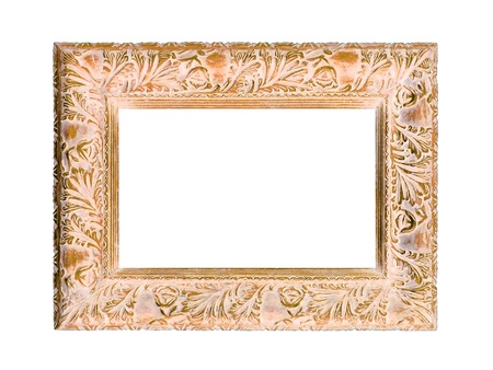 marquees: Old wood rectangular carved frame isolated on white Stock Photo