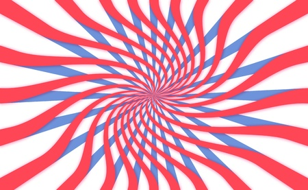 simetric: USA Independence day rosette, energy generator in red white and blue Stock Photo