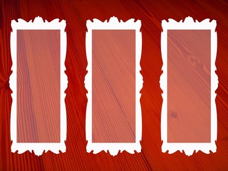 marquees: Elegant dark red background of wintage wood with three rectangular empty frames for pictures Stock Photo