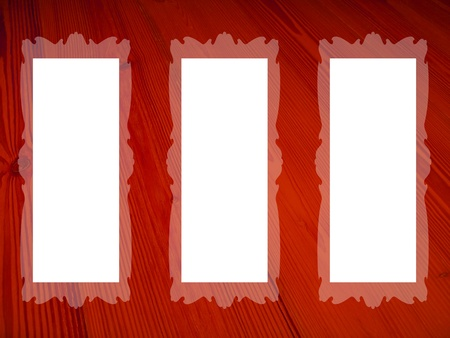 marquees: Three white backgrounds for pictures on red wood background