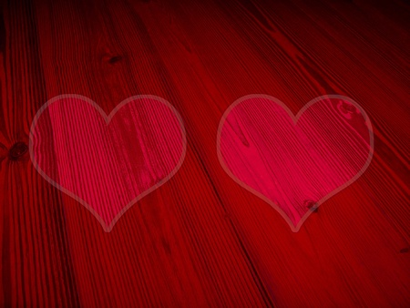 romaticism: Romantic red background with couple of hearts for Valentines day