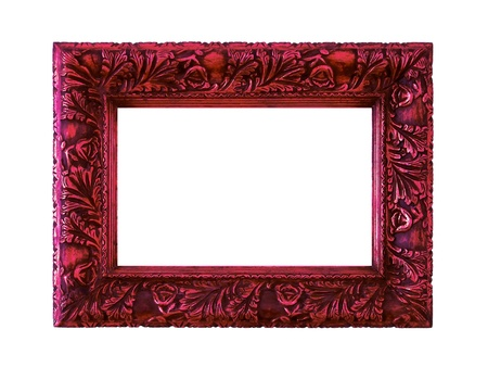 Sophisticated dark red metallized antique wood frame on white photo