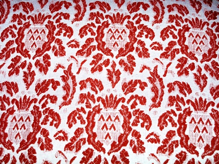 aniversaries: Sophisticated antique upholstery cloth with royal design in red and beige