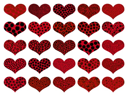 Valentines red hearts with animal textures isolated on white photo