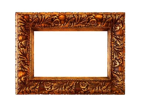 Metallized orange gold old wood frame isolated on white photo