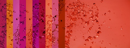 instrospection: Warm background with liquid splash on red banners palette