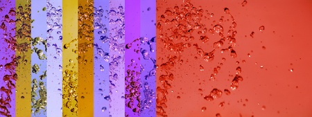 colortherapy: Red and purple drops splash banners on multicolor background