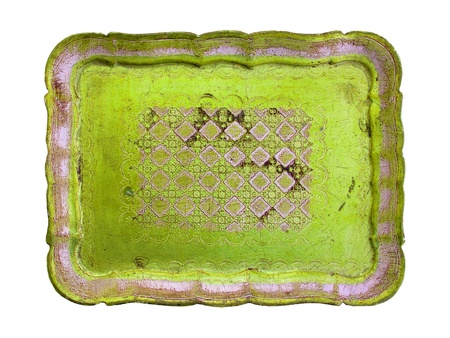 Light yellowish brilliant green old wood tray isolated on white photo