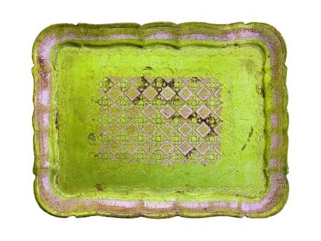 patina: Light yellowish brilliant green old wood tray isolated on white Stock Photo