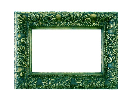 marquees: Sophisticated antique dark green metallized frame isolated on white