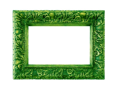 metallized: Brilliant metallized green carved elegant frame isolated on white