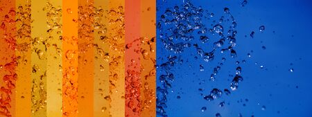 aurasoma: Intense contrast of opposite colors, orange and blue in water splash background