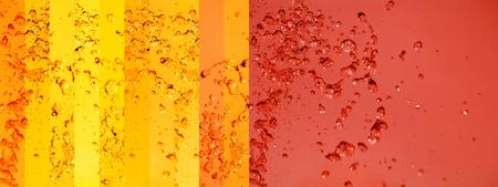 Warm tangerine red background and yellow banners with liquid splashing Stock Photo