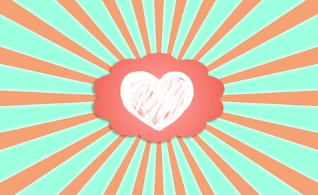 simetry: Heart draw with chalk on a dreaming cloud balloon on a radiant sky background