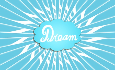Dream cloud balloon in blue background with rotating rays photo