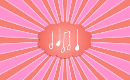 Music dreamed sounds background in pink and orange photo