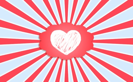 rotations: Pure love feelings radiating on red blue and white background