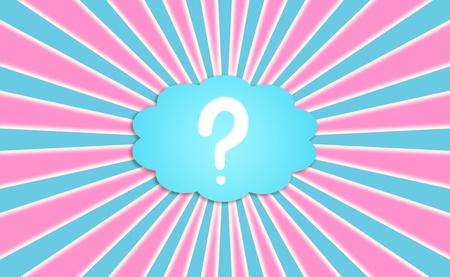 Question symbole dans les nuages ??bleu rayonnant rayons roses