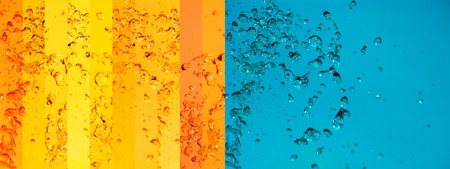 instrospection: Turquoise blue, oranges and yellow banners background