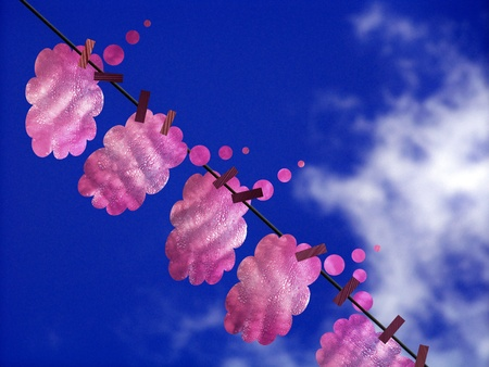 Cleansing of love feelings, thoughts and dreams, concept, pink cottoned clouds drying on a rope under blue sky Stock Photo - 12427017