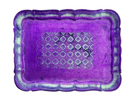 oldish: Purple oldish wood elegant beautiful tray isolated on white