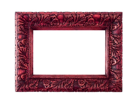 marquees: Valuable vintage frame with elegant carved design in metallized red isolated on white