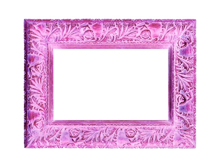 Pink femenine old wood carved frame isolated on white photo