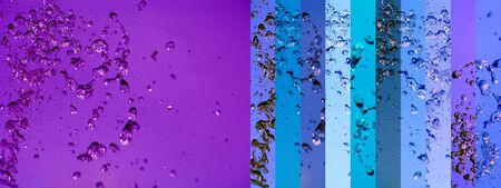 portada: Purple and blue background with water splash movement in banners