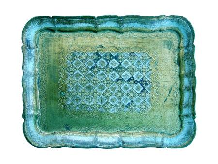metallized: Unique cian golden luxury antique tray on white