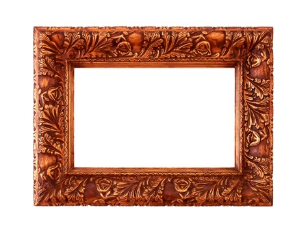 Sophisticated valuable antique golden carved wood frame isolated on white photo