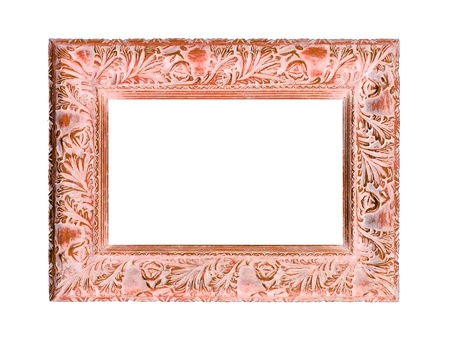 marquees: Light orange carved wood empty frame isolated on white background