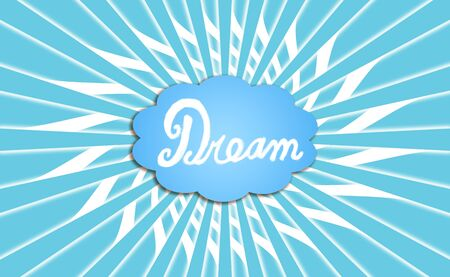 rotations: Dream cloud on blue and white rectangular rosette radiating background Stock Photo